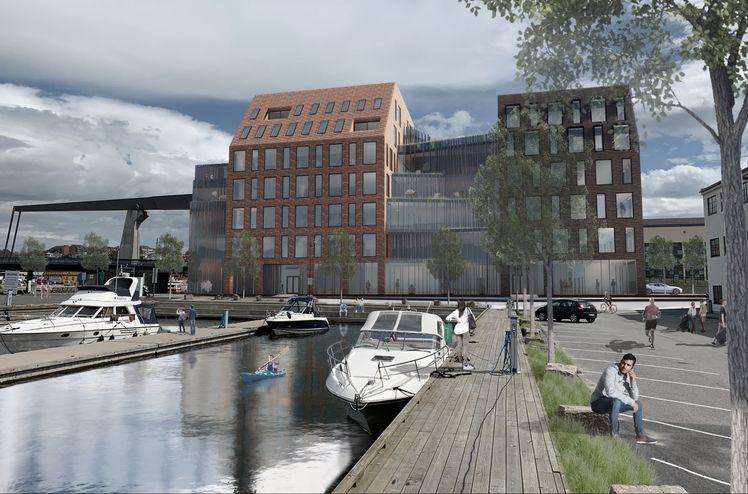 IAF Gruppen ska bygga en ny affärs- och kontorsbyggnad på Værstetorvet i Fredrikstad. l. Griff arkitektur.