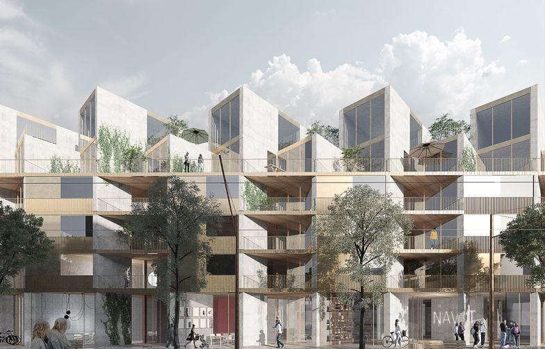 Planlösningarna i Brf Pärlan är finurligt utformade för att ge goda boendekvaliteter. Lägenheterna är uppbyggda av rektanglar och genom den förskjutna placeringen bildas spännande snedställda balkonger och uteplatser, fria från insyn från grannarna. Bild: OBOS.