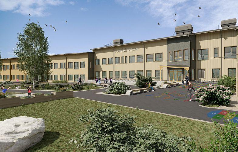 Inom kort sker byggstarten för Paradisskolan i Borlänge. Planerad invigning är hösten 2021. Illustration: Comarc Arkitekter