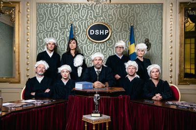"""Juryn, som utser en vinnare i kategorierna """"Årets komedi"""", """"Årets komiker"""", """"Årets humorprogram"""" samt """"Årets hederspris – till Gösta Ekmans minne"""". Margareta Bloom Sandebäck/Kanal 5 och Dplay"""