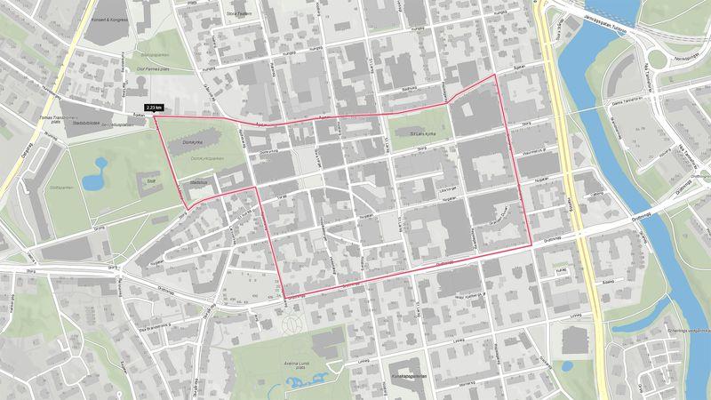 Kommunen har ansökt om att få ha ordningsvakter inom det markerade området.