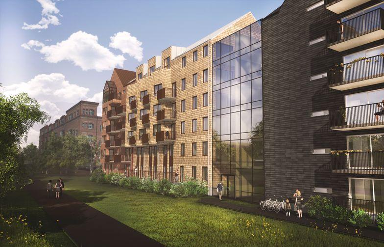 Kvarteret Stadsgården kommer att rama in en trivsam, delvis inglasad innergård. Bild: Fredblad arkitekter.