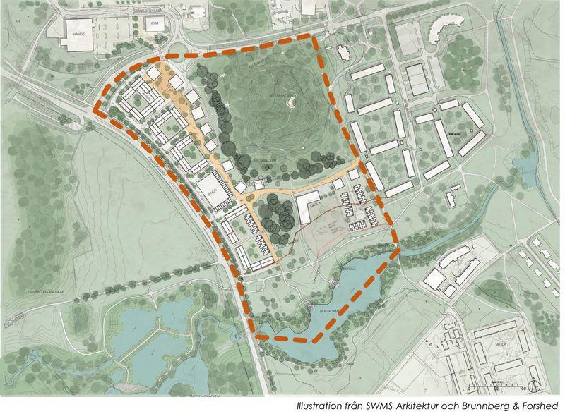Byggherrarnas förslag till utformning av området. Bild: SWMS Arkitektur och Brunnberg & Forshed