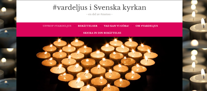 #Vardeljus-uppropet was signed by 1,382 women in the Church of Sweden (screenshot from www.vardeljus.blog).