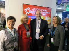 Gothenburg will host Associations World Congress & Expo 2019. The programme was launched at IBTM in BArcelona. From right: Eva Flyborg, City council of Gothenburg, Annika Hallman, Gothenburg Convention Bureau, Damian Hutt, Association of Association Executives, Malin Erlandsson, Swedish Exhibition & Congress Centre.