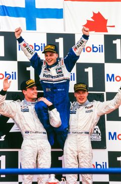 Formula 1 Champion and Indy 500 winner Jacques Villeneuve will race in the Porsche Carrera Cup Scandinavia season opener at Ring Knutstorp, Sweden. (Picture: Jacques Villeneuve celebrates his 1997 World Championship victory with David Coulthard and Mika Hakkinen.) Photo: Motorsport Images
