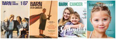Exempel på omslag för Barn&Cancer åren 1987-2019.