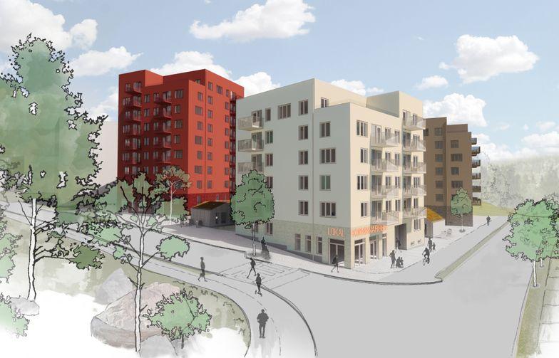 De första bostadshusen i Råby i Västerås byggs enligt Miljöbyggnad silver med solpaneler på taken för produktion av egen el. Illustration: Tovatt Architects & Planners / Sweco Architects.