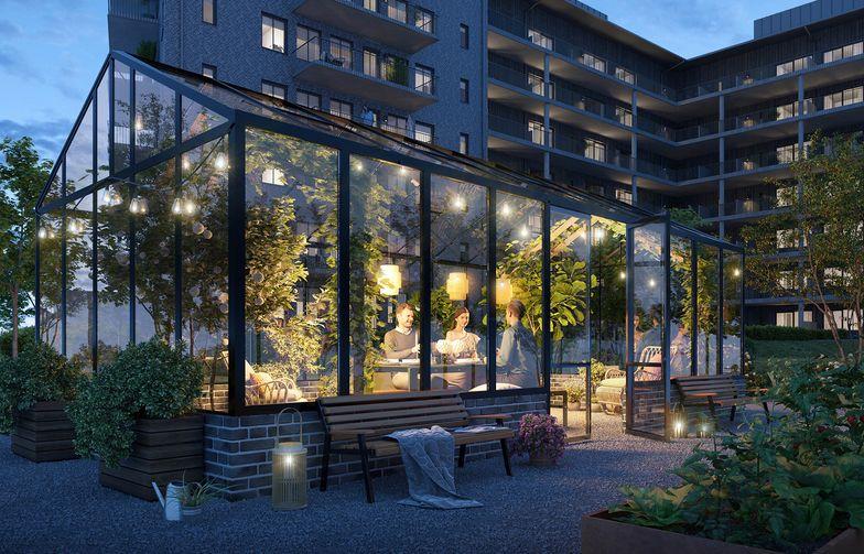 Brf Prefekten i Mölndal erbjuder lägenheter i varierande storlekar, stora balkonger, en trivsam grön innergård med gemensamt växthus och gemensamt gym. Illustration: 3dVision.