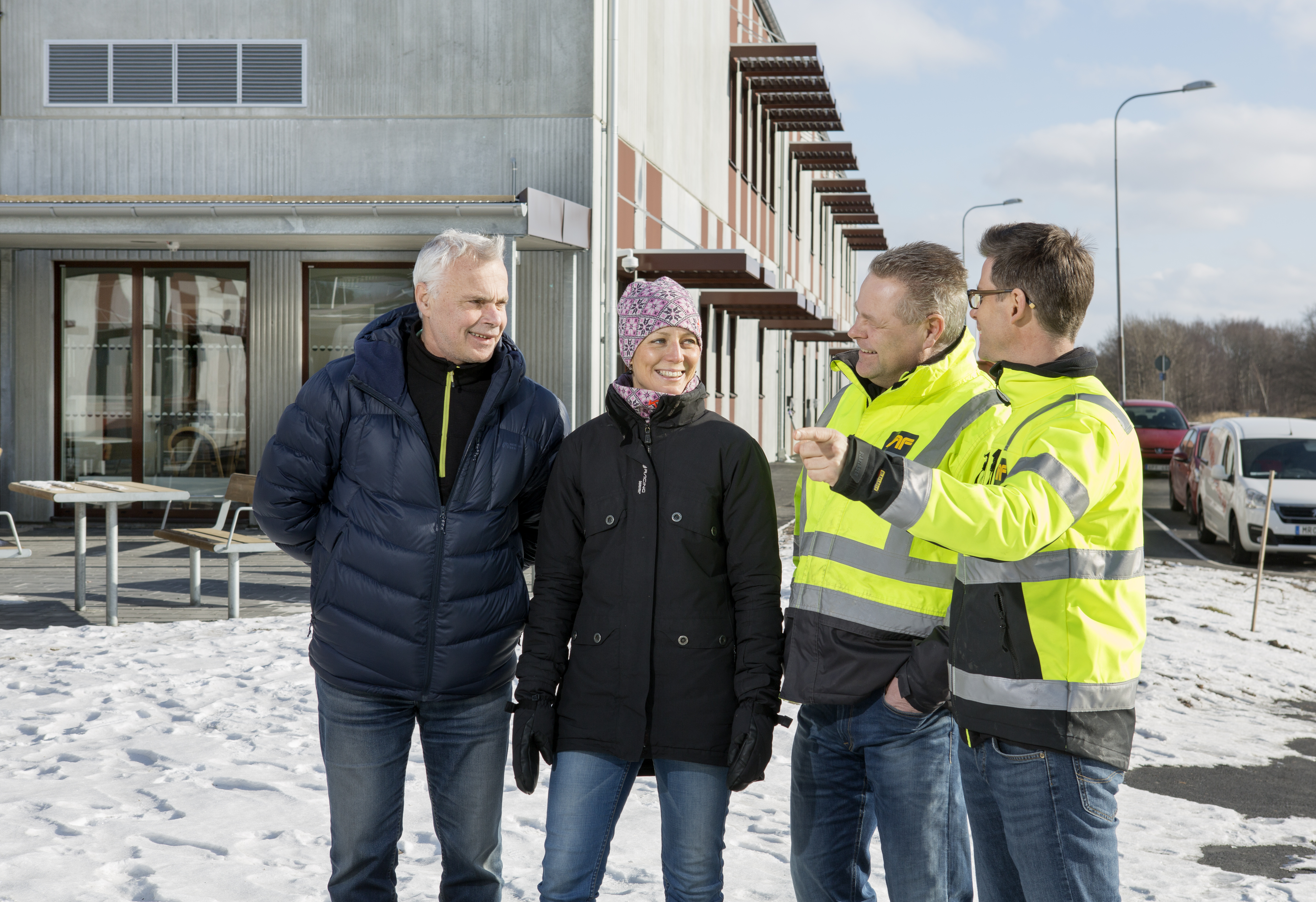 Martin Nilsen projekt/byggledare från Ramboll, Ulrika Videli från Göteborgs Stad, Lars Ögren projektledare AF, Mattias Eriksson arbetsledare AF