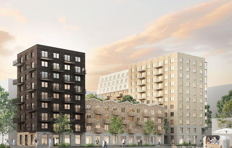 Kvarteret Kompositörens varierade och levande fasader vid torget i ett av Rosendals mest centrala lägen. Visionsbild: Kjellander Sjöberg.