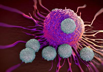 T-celler som attackerar en cancercell. Foto: royaltystockphoto