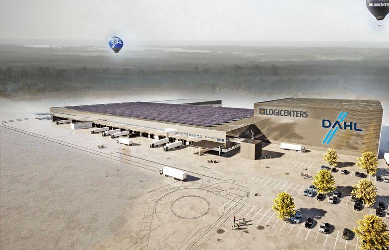 Dahls nya logistikanläggning i Bålsta omfattar 72 000 kvm och certifieras enligt miljöcertifieringen BREEAM. Illustration: Logicenters.