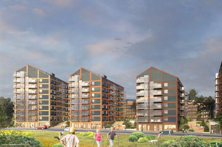 Arkitekturen i Tallbohov Electric Village är anpassad för solceller både på tak och fasader. Materialen har valts för att minska koldioxidutsläppen. Bild: Strategisk Arkitektur.