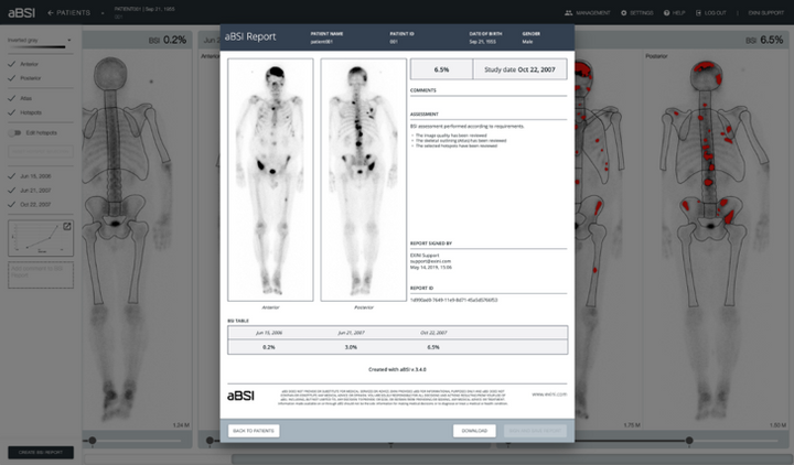 The automated Bone Scan Index (aBSI) technology, developed by EXINI Diagnostics AB
