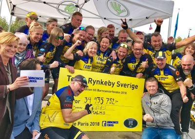 I helgen räckte Team Rynkeby - God morgon över en rekordcheck på 34,9 miljoner kronor till Barncancerfonden.