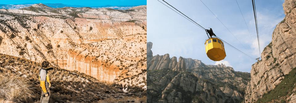 (Vänster) Hoyas de Guadix i Granada Geopark, Andalusien. (Höger) Linbana i Montserrat, Katalonien.